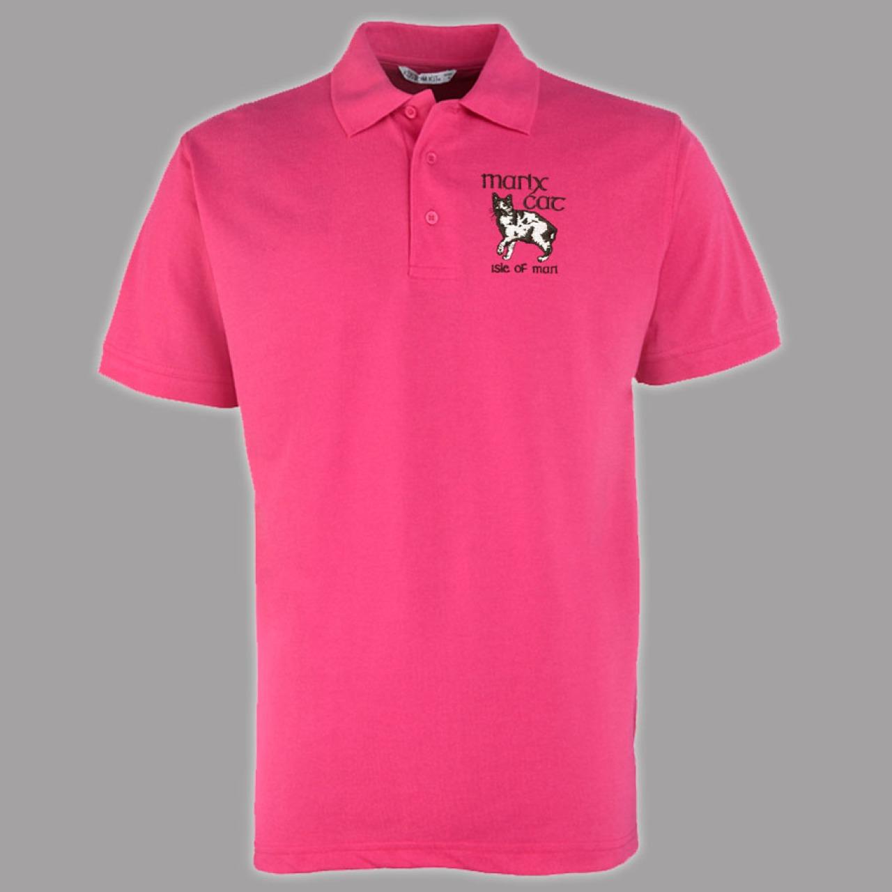 Quality hot pink manx polo shirt manx cat logo mep 180 for Quality polo shirts with company logo