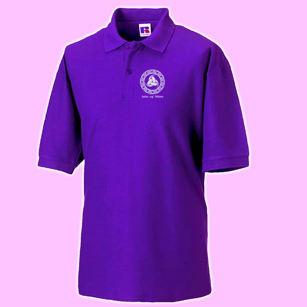 Quality purple manx polo shirt celtic legs logo mep 185 for Quality polo shirts with company logo